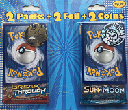 fairfield pokemon tcg 2 packs 2 foil 2 coins breakthrough sun moon